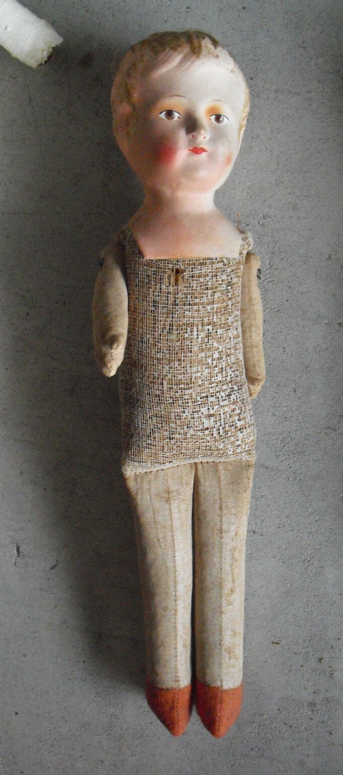 Antique 1910s Germany Kn 4 Composition Head Cloth Girl Doll 14  Tall