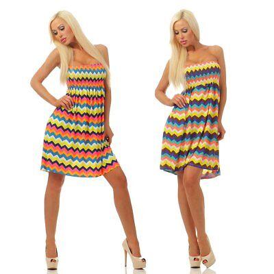 4610 Damen Bandeau Minikleid Kleid Sommerkleid Strand ...