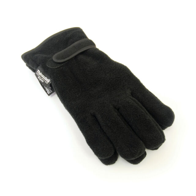 Charcoal or Black Mens Thermal Thinsulate Fleece Winter Gloves with Palm Grips