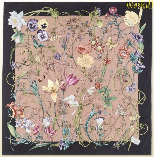 "GUCCI mauve pink and black INFINITY FLORA Silk 35"" Scarf NWT Authentic $425!"