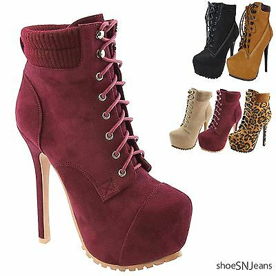 New Women's Fashion Lace Up Padded Collar Ankle Booties Platform Stiletto Shoes