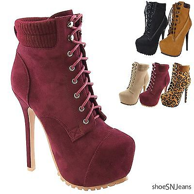 New Women's High Heel Lace Up Collar Ankle Boot Booties Platform Stiletto Shoes