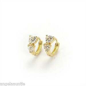 18K-Yellow-Gold-Filled-CZ-Huggie-Earrings-E-270