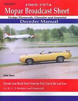 1969 70 71 72 73 74 Dodge Coronet/rt Decoder Manual