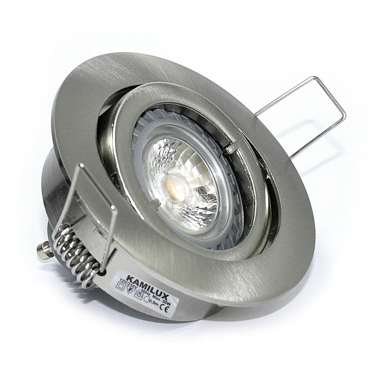 230V Bad Einbauleuchte Bajo & GU10 7W LED Leuchtmittel 7 Watt Einbautiefe 6cm
