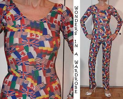 RARE UK & CANADIAN FLAGS UNITARD JUMPSUIT BODYSUIT COLORFUL PATRIOTIC S M