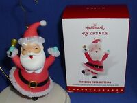 Hallmark Ornament Ringing In Christmas 2015 Santa Claus With Bell Chenille Trim