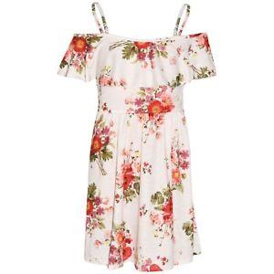 07b9a6eacf Details about Girls Skater Dress Kids Red Floral Summer Party Off Shoulder  Dresses 7-13 Years