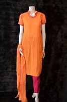 Cotton Embossed Fabric Pakistani Indian Shalwar Kameez Orange Embroidery S