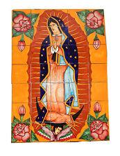# 42  Mexican Talavera Mosaic Mural Tile Handmade Virgen Guadalupe 35 Pieces