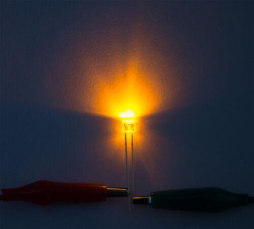 20 Stk 5mm LED Flachkopf Flattop gelb klar 120° Abstrahlwinkel superhell