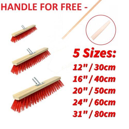 Sweeping Brush HEAD with HANDLE Stiff Bristle Outdoor Broom Garden Sweeper