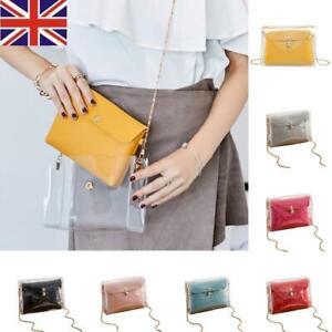 526343198c7a Details about UK Women PVC Transparent Jelly Handbag Tote Messenger  Crossbody Shoulder Bag