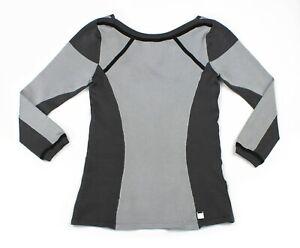 New-KAREN-MILLEN-Sz-1-UK-8-High-Stretch-Jersey-Sporty-Grey-Black-Panel-Top