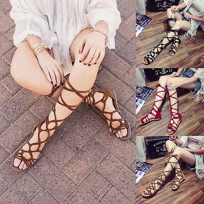 Women Lace Up Leg Strap Sandals Gladiator Knee High Boot Flip Flops Casual Shoes | eBay