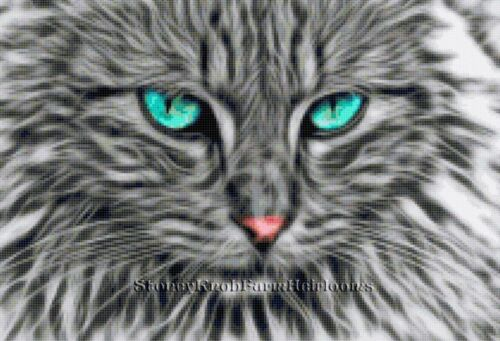 Kittens ~ DIY Counted Cross Stitch Pattern Fractal Gray Tiger Cat Face ~ Cats