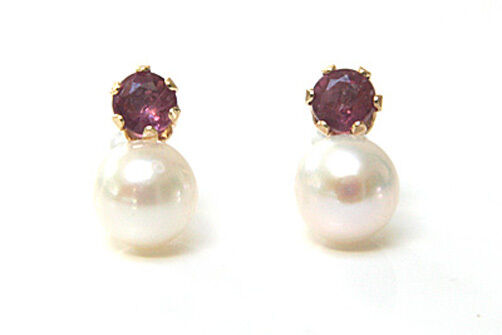 9ct gold Cultured Pearl and Ruby Stud earrings Gift Boxed Made in UK