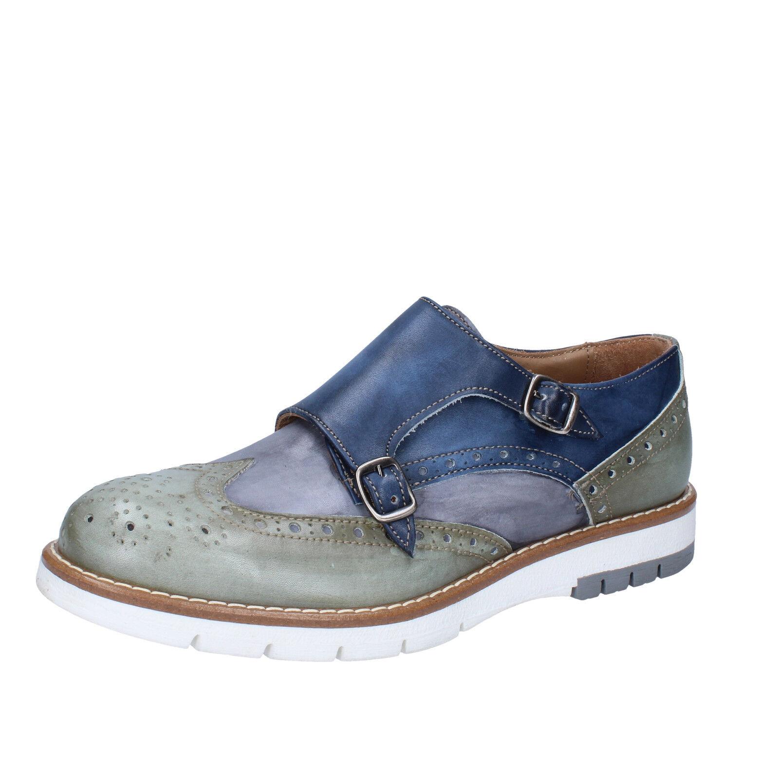 Mens shoes DI MELLA 11 (EU 45) elegant bluee green leather AB928-F