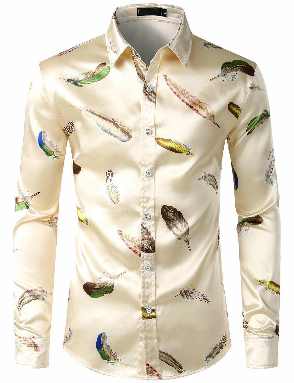 Allywit-Mens Regular Fit Long Sleeve Shiny Like Satin Dance Prom Luxury Dress Shirt Tops