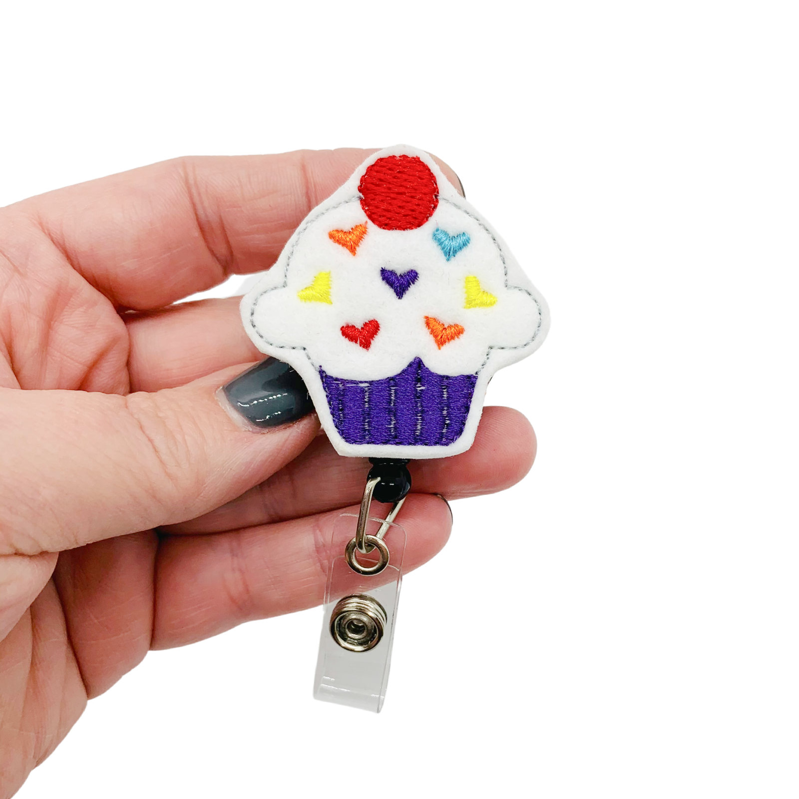 Cupcake Badge Reel Holder Charm Cover Clip Pull Rainbow Heart Cake ID Accessory