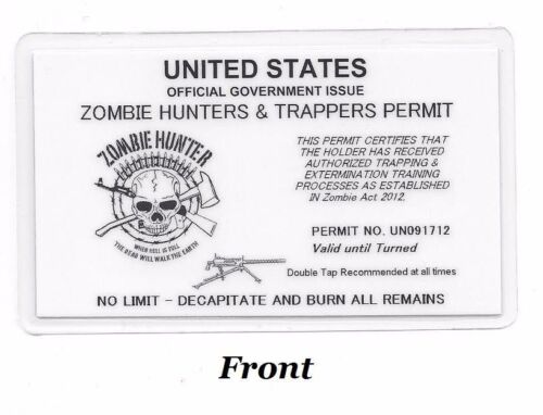 W@W Zombie Hunters /& Trappers Permit; Hunting Permit; Carry Card; Laminated L@@K