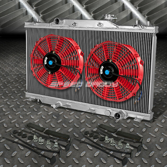 "2-ROW ALUMINUM RADIATOR+2X 12""FAN RED FOR 02-06 ACURA RSX"