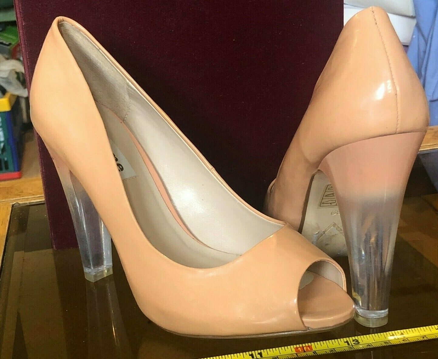 Dune Nude Open Toe Transparent Heel High Heels shoes UK 6 Sexy