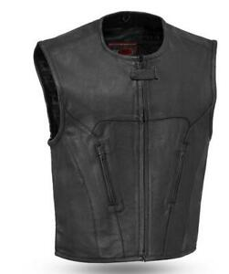 Perfect Club for Patches Mens Updated Leather SWAT Style Motorcycle Biker Vest