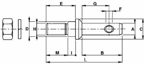 2x Unterlenkerbolzen Gerätebolzen Kat.1 Traktor Holzspalter Wippsäge