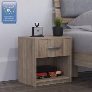 Dettagli su Comodino con cassetto Comodino per camera da letto in rovere  sonoma
