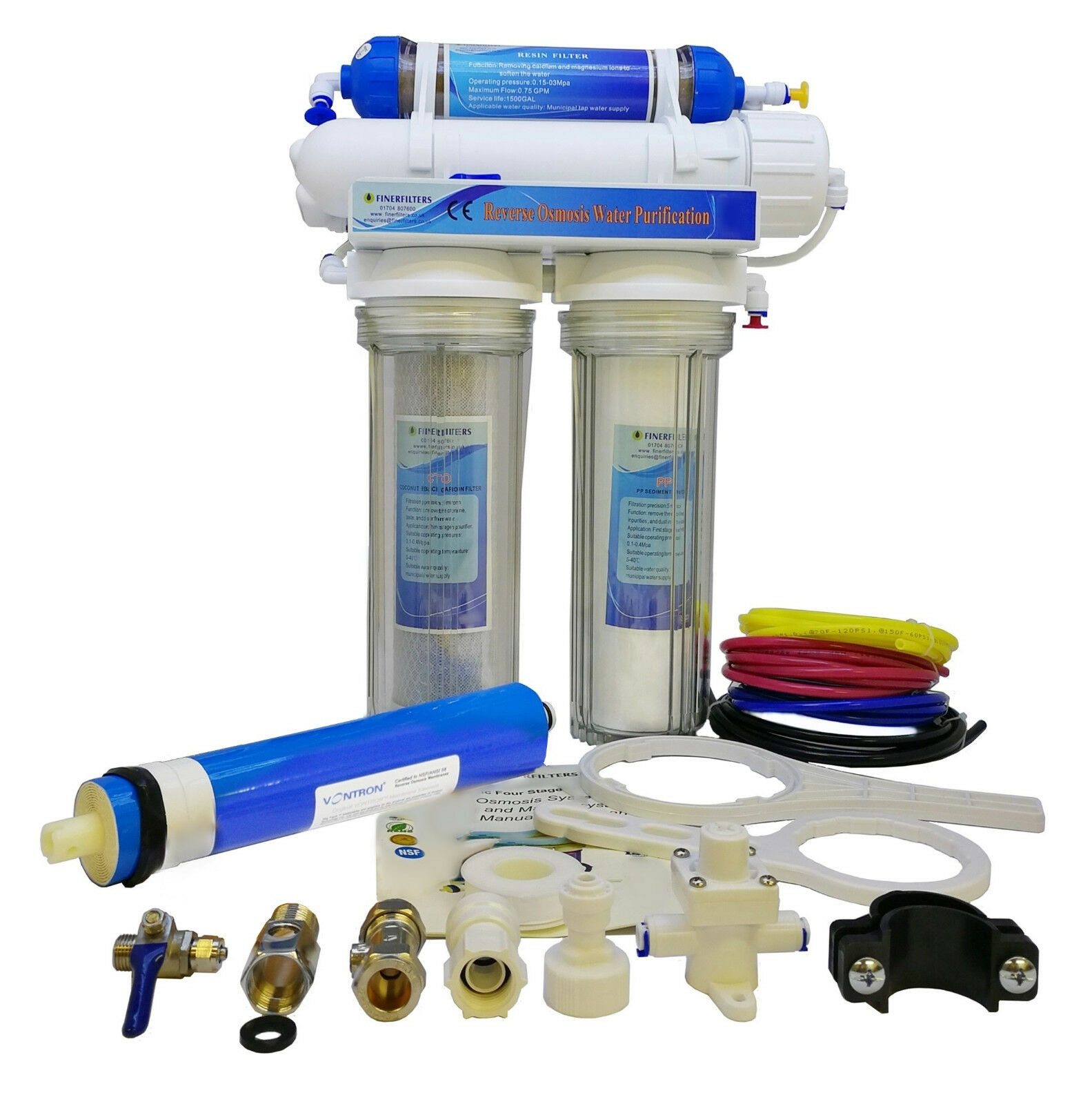 Finerfilters 4 Stage Aquatic Reverse Osmosis System - RO Unit & DI Chamber 50GPD