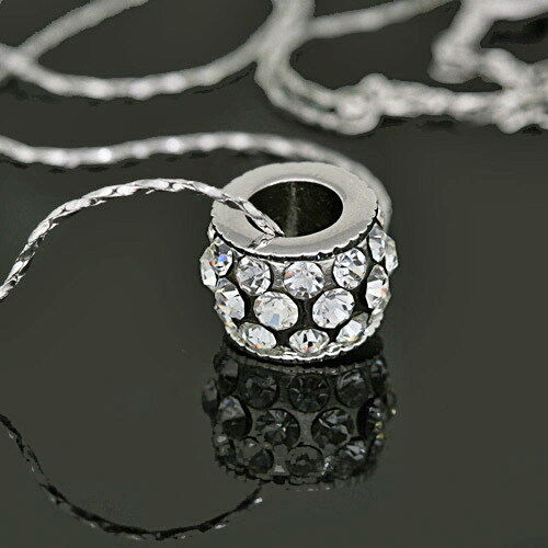White Gold Plated Crystal Wheel Necklace Made With Swarovski Crystal N203