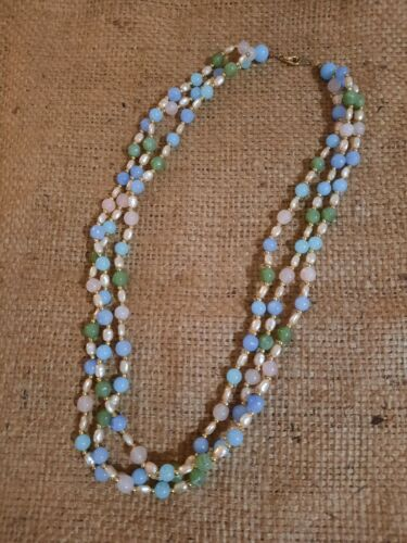 Vintage Art Deco Style Silver Tone Copper Tone Three Stranded Glass Beads Necklace Jewelry K#27