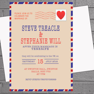 Image Is Loading Personalised Wedding Invitations Abroad Uk Reception Airmail X