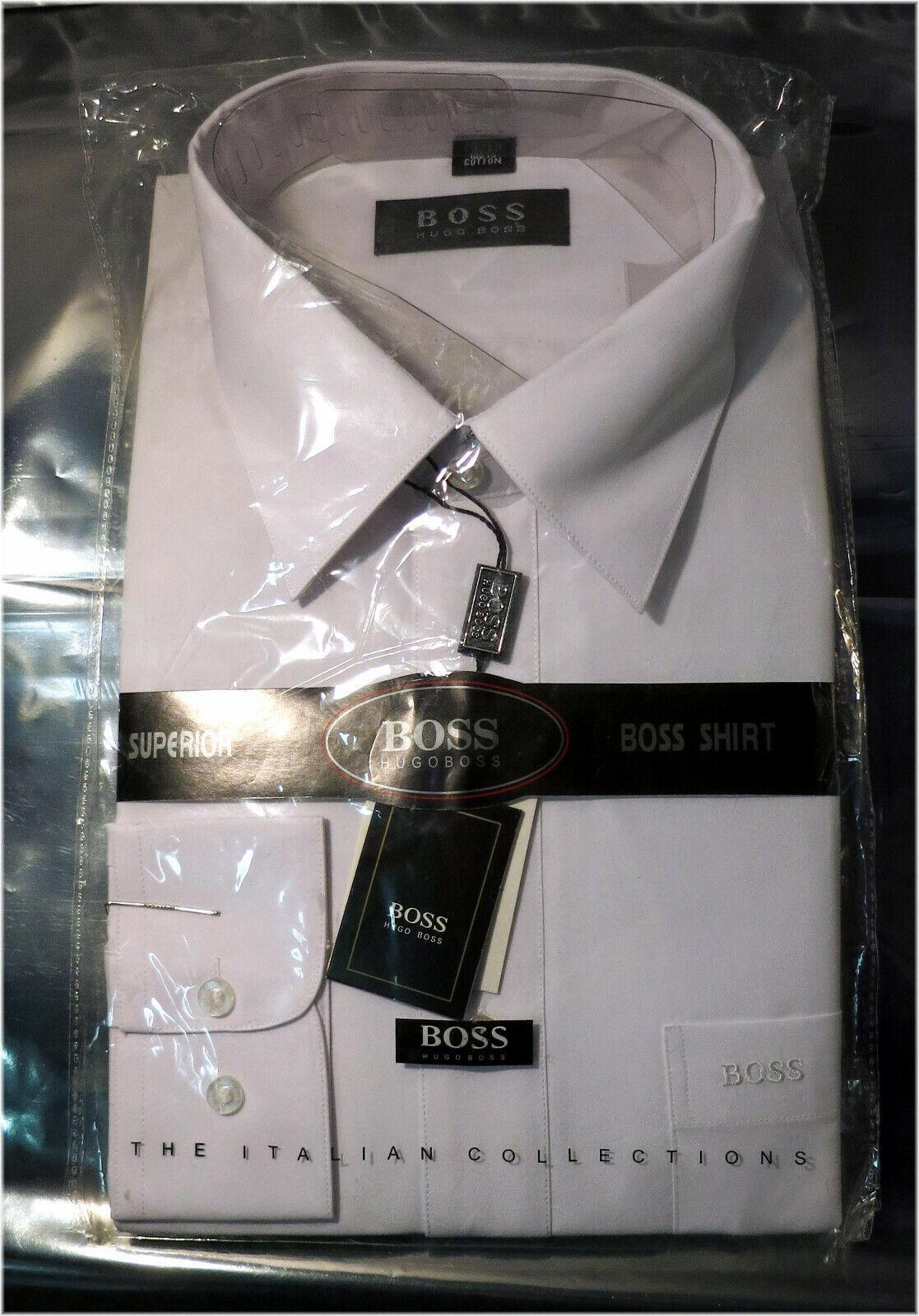 Authentic Men's HUGO BOSS Dress Shirt, White, Size 17.5   European 44