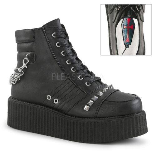 Demonia Vegan Black Creeper 7I Low-Rise Chain Boots Gothic Punk 4 5 6 7 8 9