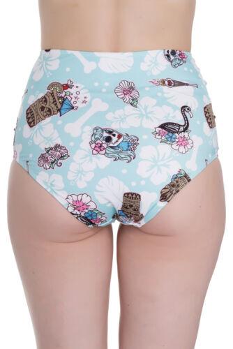 Hell Bunny SUKI Hibiscus TIKI Flamingo High Waisted Bikini BADEHOSE Rockabilly