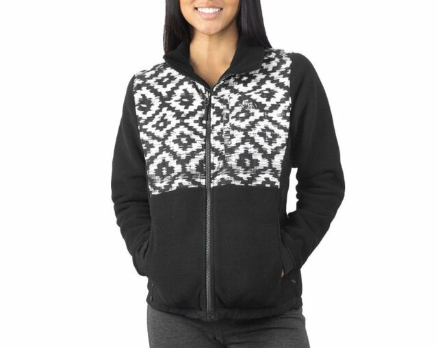 The North Face Womens Black Denali 2 Hoodie D-Kat Print Full Zip Jacket XS c090df07d