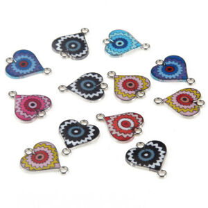 10pc-Enamel-Multicolor-Heart-Shaped-Beads-Connector-Charms-DIY-Bracelet-Necklace