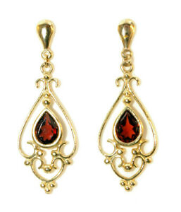 9ct Gold Dangly Garnet Earrings Drop Gift Boxed Made in UK