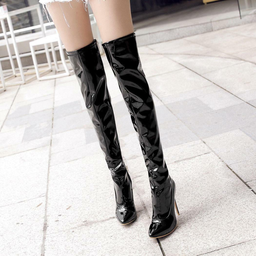 Ladies Zip High Heel Pointed Toe Stiletto Over Knee Boots shoes PLUS Size 33-47