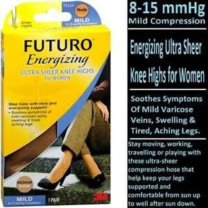 Futuro Beyond Support Ultra Sheer Knee Highs Mild Large