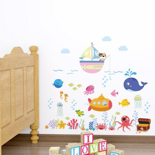 Cartoon Ocean Fish Wall Stickers For Kids Rooms Bedroom Nursery Bathroom Decor
