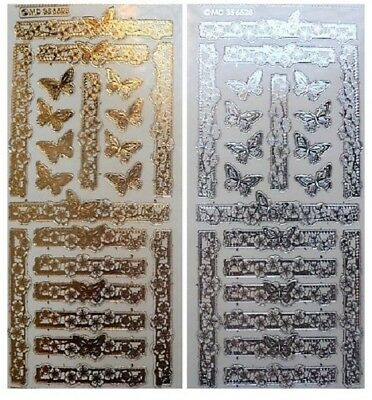 Embossed BUTTERFLIES AND FLOWERS Peel Off Stickers Gold or Silver on Clear