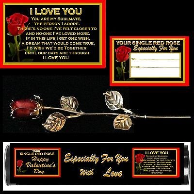 MY WIFE VERSE RED ROSE ENAMEL SILVER METAL LEAVES I LOVE YOU GIFT VALENTINE CARD
