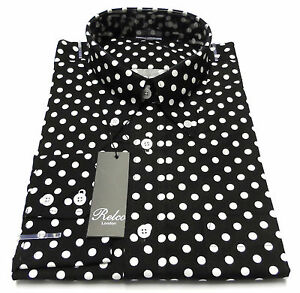 Relco-Black-White-Polka-Dot-Cotton-Long-Sleeved-Retro-Mod-Button-Down-Shirts