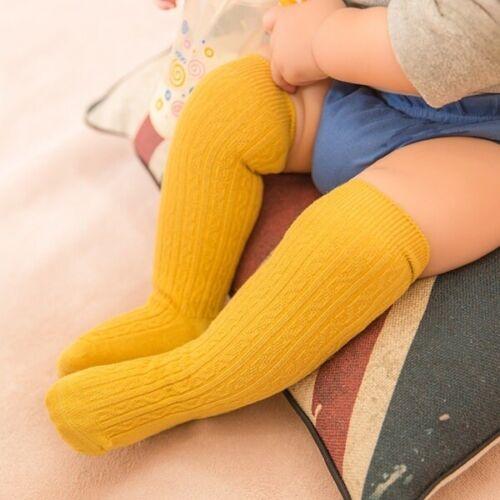 Baby Kid Boys Girls Newborn Toddler Knee High Cotton Sock Long Leg Warmers Solid