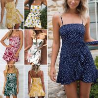 Femmes Summer Sundress Sans Manches Party Cocktail Plage Mini Robe courte