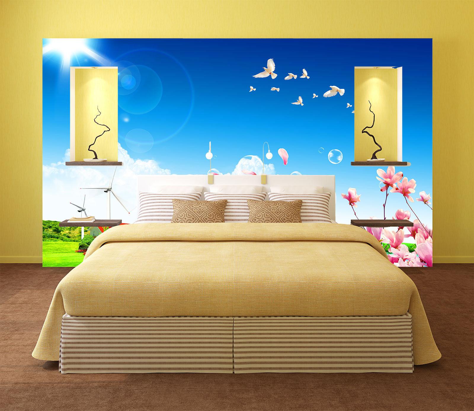 3D Sun Flowers Birds 8 Wall Paper Murals Wall Print Wall Wallpaper Mural AU Kyra