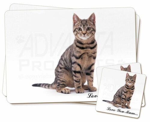 Brown Tabby Cat 'Love You Mum' Twin 2x Placemats+2x Coasters Set in, AC154lymPC